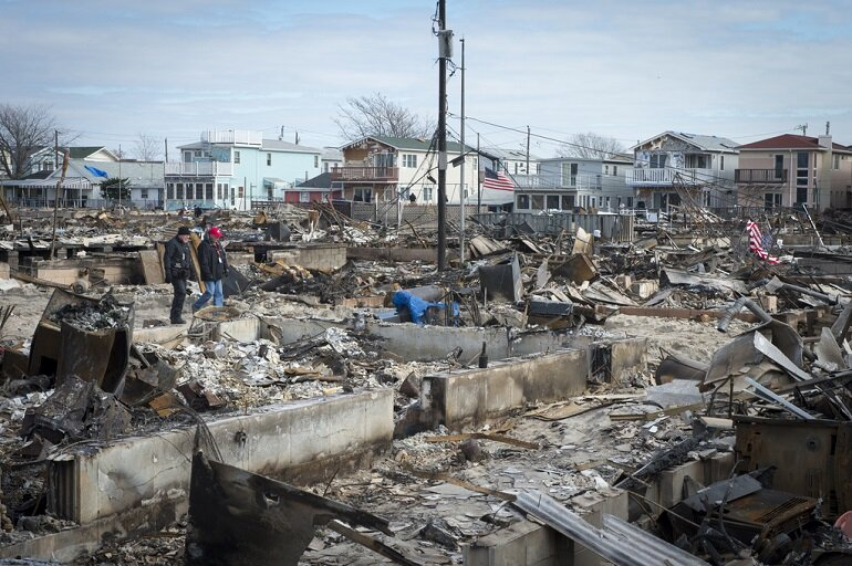 Damage to Breezy Point, N.Y. from Hurricane Sandy