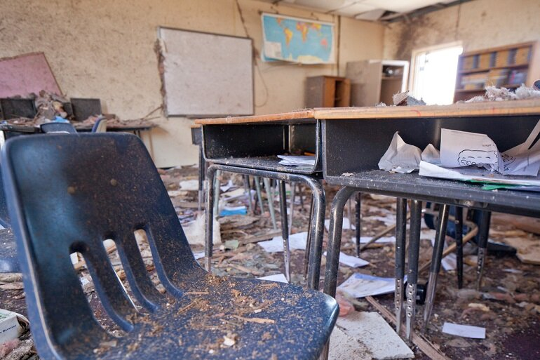 Damage to a classroom at Plaza Towers Elementary school in Moore