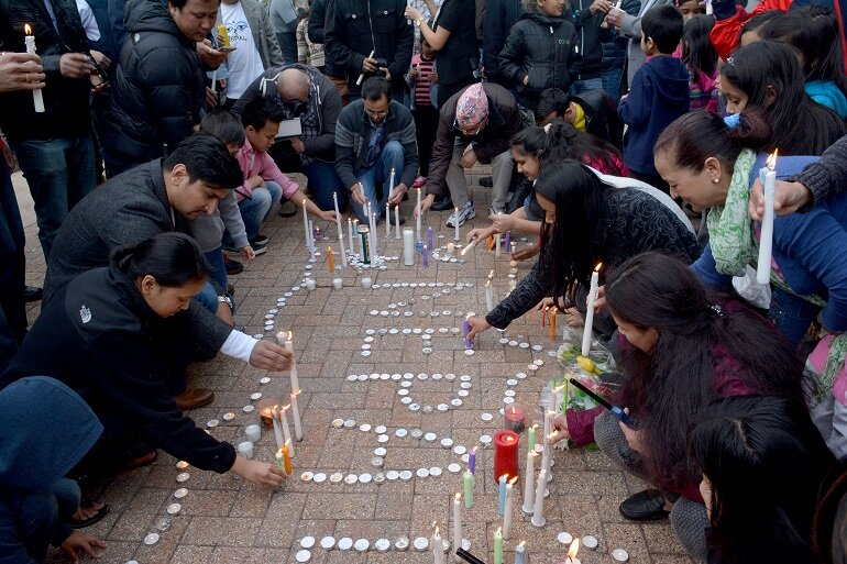 Candlelight vigil for the victims of the Nepal earthquake