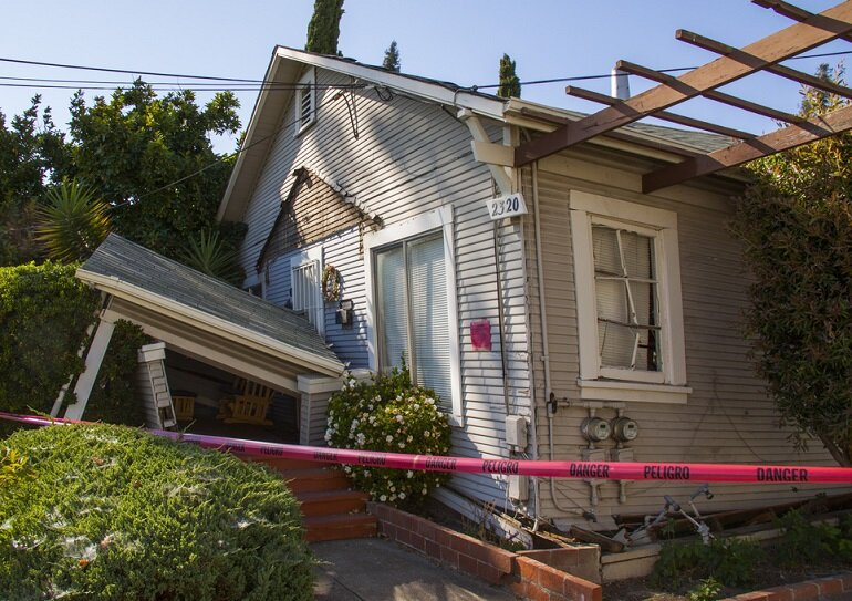 Damage to a home in Napa, Calif., from the 2014 earthquake