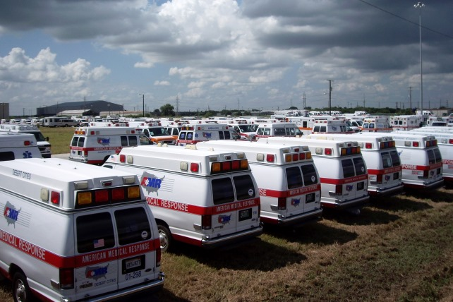 Ambulances part of the critical asset deployment for Hurricane Dean in August 2007
