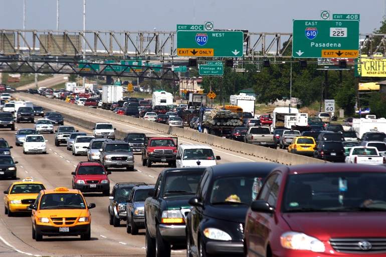 Traffic is heavy on the Houston freeways as people flee oncoming Hurricane Rita