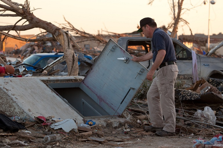 Storm shelter used by residents in Moore, Okla.