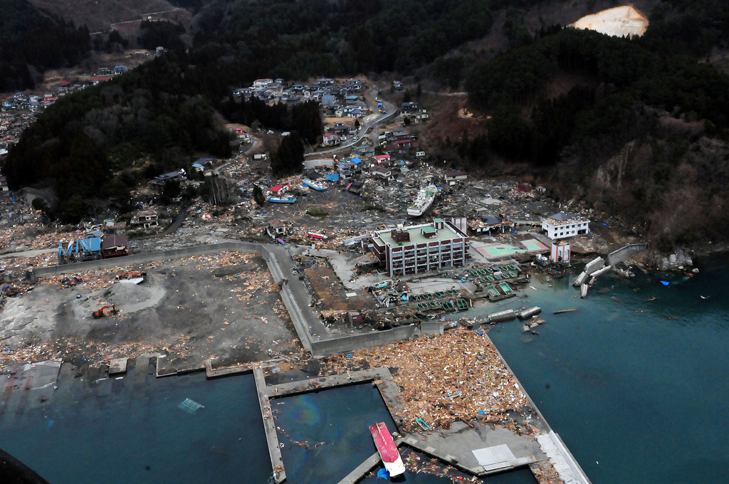 An aerial view of damage to Wakuya, Japan