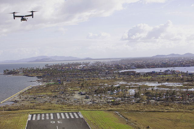 MV-22B Osprey prepares to land on Tacloban Air Base